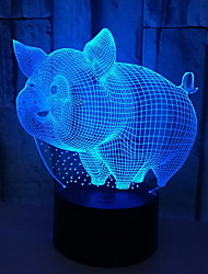 Недорогие -1шт 3d ночник в форме свиньи с изменяющим цвет usb creative<=36 v