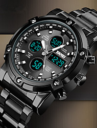 cheap -SKMEI Men's Steel Band Watches Quartz Stainless Steel Black / Silver 30 m Water Resistant / Waterproof Chronograph Noctilucent Analog - Digital Outdoor Fashion - Black Silver Blue Two Years Battery