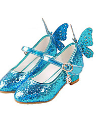cheap -Girls' Tiny Heels for Teens PU Heels Sequins Kids Bowknot / Sequin Pink / Gold / Blue Summer / Party & Evening / Rubber