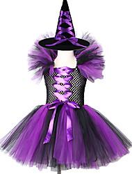 povoljno -vještica Movie & TV Theme Costumes Haljine Cosplay Nošnje Dječji Djevojčice Šešir Ball haljina proklizavanja Halloween Božić Halloween Festival / Praznik Terilen Acetat purpurna boja / Fuschia