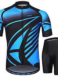 cheap -Arsuxeo Men's Short Sleeves Cycling Jersey with Shorts Red Green Blue Bike Clothing Suit 3D Pad Moisture Wicking Sports Painting Mountain Bike MTB Road Bike Cycling Clothing Apparel / Micro-elastic