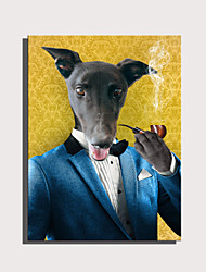 cheap -E-HOME Stretched Canvas Art Cute Animal Series - Pipe Gentleman Dog  Decoration Painting  One Pcs