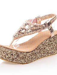 cheap -Women's PU(Polyurethane) Summer British / Preppy Sandals Wedge Heel Open Toe Rhinestone Gold / Silver / Party & Evening