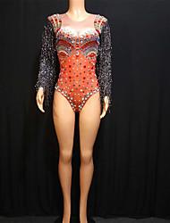 cheap -Exotic Dancewear Rhinestone Bodysuit / Nightclub Jumpsuits / Club Costume Women's Performance Spandex Acrylic Jewels / Tassel / Crystals / Rhinestones Long Sleeve Leotard / Onesie