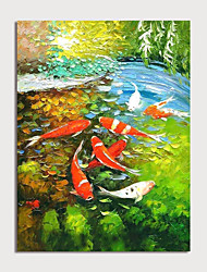 cheap -Oil Painting Hand Painted - Landscape Animals Modern Rolled Canvas