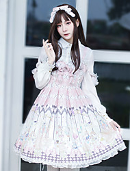 cheap -Artistic / Retro Princess Lolita Cute Dress Blouse / Shirt Cosplay Costume Halloween Props All Velvet Chiffon Japanese Cosplay Costumes Light Pink Print Stitching Lace Bowknot Bishop Sleeve Short