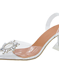 cheap -Women's Sandals Sculptural Heel PU / Synthetics Lucite Heel Summer Silver / Wedding / Party & Evening / Party & Evening