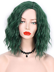 cheap -Synthetic Wig Curly Side Part Wig Medium Length Black / Green Synthetic Hair 14 inch Women's Fashionable Design Party Women Green