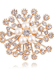 cheap -Women's Synthetic Diamond Brooches Flower Ladies Classic Fashion fancy Imitation Pearl Brooch Jewelry Gold For Wedding Daily Masquerade Engagement Party Prom Date