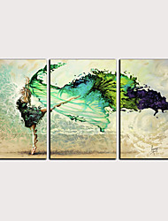cheap -Print Rolled Canvas Prints - Abstract People Classic Modern Three Panels Art Prints