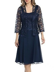 cheap -Women's Plus Size Navy Blue Dress Basic Sheath Two Piece Solid Colored Strap Lace S M Slim