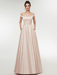 cheap -A-Line Off Shoulder Floor Length Chiffon Bridesmaid Dress with Sash / Ribbon