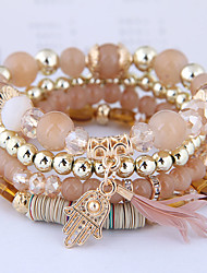 cheap -4pcs Women's Charm Bracelet Bead Bracelet Pendant Bracelet Layered Feather Tassel Bohemian European Ethnic Fashion Resin Bracelet Jewelry Brown / Dark Red / Light Blue Hamsa Hand For Party Daily