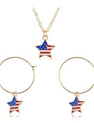 cheap -Women's Drop Earrings Pendant Necklace American flag Star Flag Patriotic Jewelry European Trendy Sweet Earrings Jewelry Rainbow For Street Festival 3pcs
