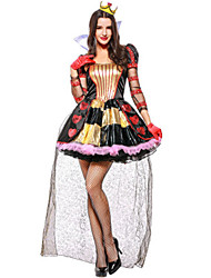 cheap -Queen of Hearts Dress Cosplay Costume Masquerade Adults' Women's Cosplay Halloween Christmas Halloween Carnival Festival / Holiday Tulle Sequin Black Carnival Costumes Embroidery Holiday Halloween