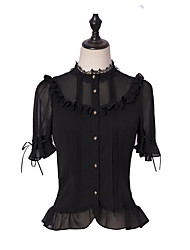 cheap -Classical Gothic Punk & Gothic Blouse / Shirt Female Japanese Cosplay Costumes Black Solid Color Other Black & White Puff Sleeve Short Sleeve Medium Length