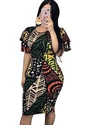 cheap -Women's Basic Loose Bodycon Sheath Chiffon Dress - Solid Colored Print Rainbow S M L XL