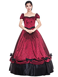 cheap -Princess Maria Antonietta Floral Style Rococo Victorian Renaissance Dress Party Costume Masquerade Women's Lace Costume Red black Vintage Cosplay Christmas Halloween Party / Evening Short Sleeve