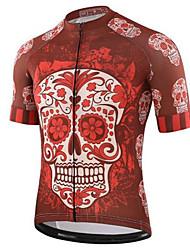 Недорогие -21Grams Черепа Муж. С короткими рукавами Велокофты - Red and White Велоспорт Джерси Верхняя часть Быстровысыхающий Впитывает пот и влагу Виды спорта Терилен Горные велосипеды Шоссейные велосипеды