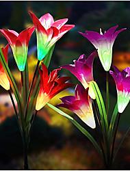 cheap -Outdoor Solar Lights Garden Stake Lights 4 Packs 4 Head Lily Flower Solar Light 3 Packs 2 Packs Colorful  Flower Garden Patio Backyard Home IP65 Waterproof Night Light