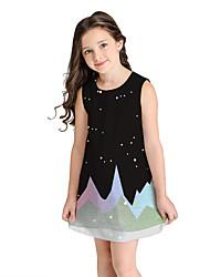 cheap -Kids Girls' Sweet Cute Geometric Color Block Sleeveless Above Knee Dress Black / Cotton
