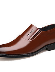 cheap -Men's Leather Shoes Leather Spring & Summer British Loafers & Slip-Ons Wear Proof Black / Brown / Party & Evening / Party & Evening