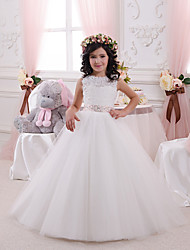 cheap -Princess Floor Length Wedding / Birthday / First Communion Flower Girl Dresses - Lace / Tulle / Cotton Sleeveless Jewel Neck with Lace / Appliques / Crystals / Rhinestones
