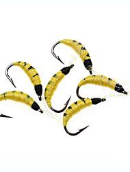 cheap -8# 6pcs Pupae Nymph Yellow Hot Spot Fly Fishing Flies lure