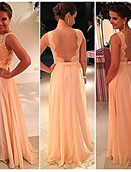cheap -A-Line Scalloped Neckline Sweep / Brush Train Chiffon Bridesmaid Dress with Appliques / Bow(s) / Lace / Open Back