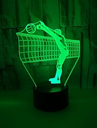 cheap -3D LED Night Light Volleyball Desk Lamp Touch Button Visual Illusion Sport Player Bedroom Decor Christmas Gifts New Year Children's Holiday Sleeping Bedside Lamp 7 Color Change