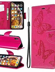 Недорогие -чехол для яблока iphone xr / iphone xs max магнитный / флип / с подставкой чехлы для тела бабочка / однотонная твердая кожа pu для iphone 6 / 6s plus / 7/8 plus / xs / x
