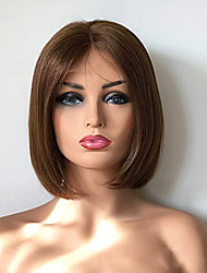cheap -Remy Human Hair Full Lace Lace Front Wig Short Bob style Brazilian Hair Straight Brown Wig 130% 150% 180% Density Easy dressing Adorable Lovely Middle Part Bob Youth Women's Short Human Hair Lace Wig