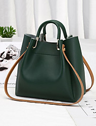 cheap -Women's Polyester / PU Top Handle Bag Leather Bags Solid Color Wine / Black / Green / Fall & Winter