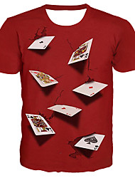 cheap -Men's Street Casual / Daily Basic / Exaggerated Plus Size T-shirt - 3D / Graphic / Letter Print Round Neck Red / Short Sleeve