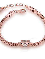 cheap -Women's Cubic Zirconia Chain Bracelet Braided Blessed Casual / Sporty Fashion Gold Plated Bracelet Jewelry Rose Gold For Gift Daily