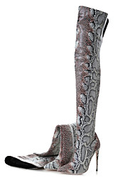 cheap -Women's Boots Party Heels Stiletto Heel Pointed Toe Animal Print Faux Leather Over The Knee Boots Classic / British Spring &  Fall / Fall & Winter Leopard / Party & Evening / Fashion Boots