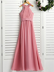 cheap -A-Line Halter Neck Maxi Chiffon Junior Bridesmaid Dress with Beading / Ruching