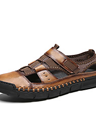 cheap -Men's Comfort Shoes PU Spring & Summer Casual Sandals Breathable Black / Brown / Gray