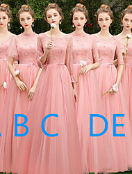 cheap -A-Line V Neck / Jewel Neck Floor Length Tulle Bridesmaid Dress with Appliques