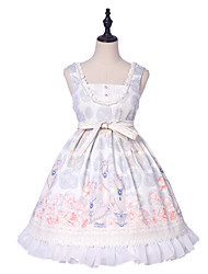 cheap -Lolita Sweet Lolita Classic Lolita Cosplay Costume Masquerade JSK / Jumper Skirt Women's Girls' Japanese Cosplay Costumes White Print Bowknot Flower Flare Sleeve Sleeveless Knee Length / Dress