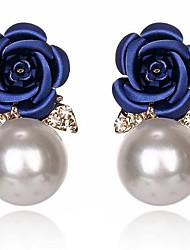 cheap -Women's Resin Stud Earrings Flower Stylish Classic Imitation Pearl Imitation Diamond Earrings Jewelry Dark Blue / Red / Dark Pink For Daily 1 Pair