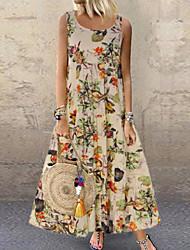 cheap -Women's 2020 Plus Size Vacation Maxi Loose Swing Dress - Floral Print Summer Purple Orange S M L XL