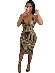 cheap -Women's Basic Loose Bodycon Sheath Dress - Geometric Backless Strap Deep V Gold S M L XL