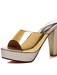 cheap -Women's PU(Polyurethane) Spring & Summer Sandals Chunky Heel Open Toe Gold / Black / Silver / Party & Evening