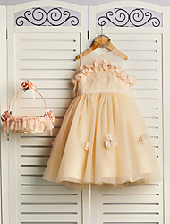 cheap -Princess Knee Length Flower Girl Dress - Satin / Tulle Sleeveless Jewel Neck with Petal / Feathers / Fur