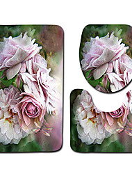 cheap -1 set Classic Bath Mats 100g / m2 Polyester Knit Stretch Geometric / Novelty / Floral Print Creative / Non-Slip