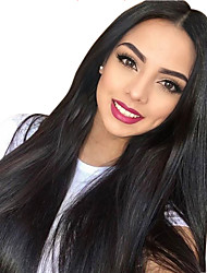cheap -Remy Human Hair 13x6 Closure Lace Front Wig style Brazilian Hair kinky Straight Natural Straight Natural Black Wig 130% 150% Density Fashionable Design Silky Party Women with Clip Women's Long Very