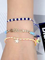 cheap -3pcs Women's Bead Bracelet Vintage Bracelet Earrings / Bracelet Braided Alphabet Shape Star Simple Classic Vintage Fashion Cute Cord Bracelet Jewelry Blue For Daily School Street Holiday Festival