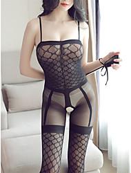 cheap -Women's Teddy / Suits Nightwear - Mesh Solid Colored Black L XL XXL
