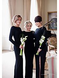 cheap -Mermaid / Trumpet Jewel Neck Floor Length Jersey Bridesmaid Dress with Split Front